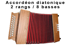 Accordéon diatonique 2 rangs 8 basses